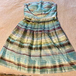 Donna Morgan Strapless Striped Mini Dress